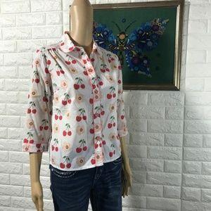 5/$25 Anthropologie cherries vintage shirt Odille